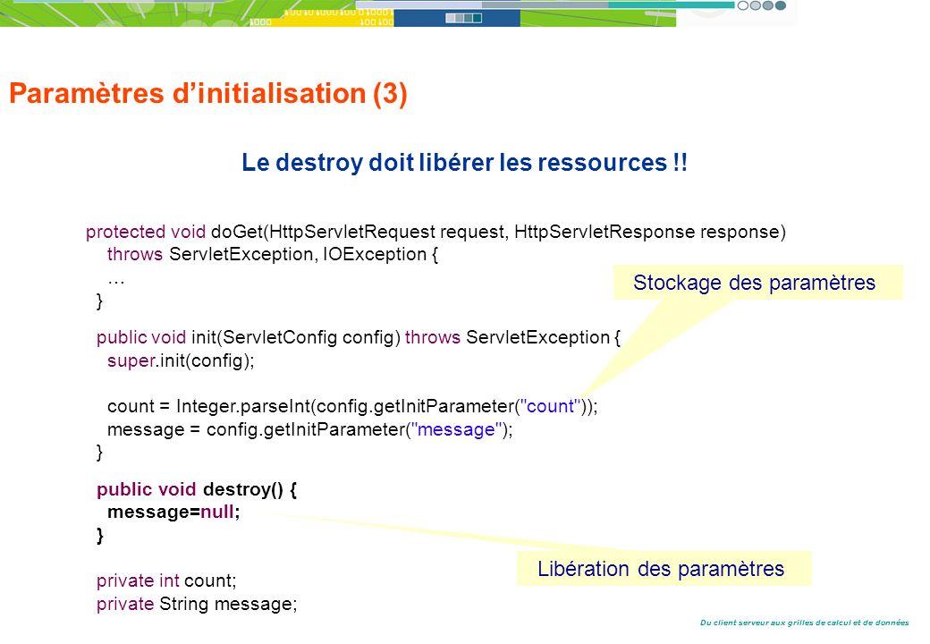 Du client serveur aux grilles de calcul et de données Paramètres dinitialisation (3) Le destroy doit libérer les ressources !.