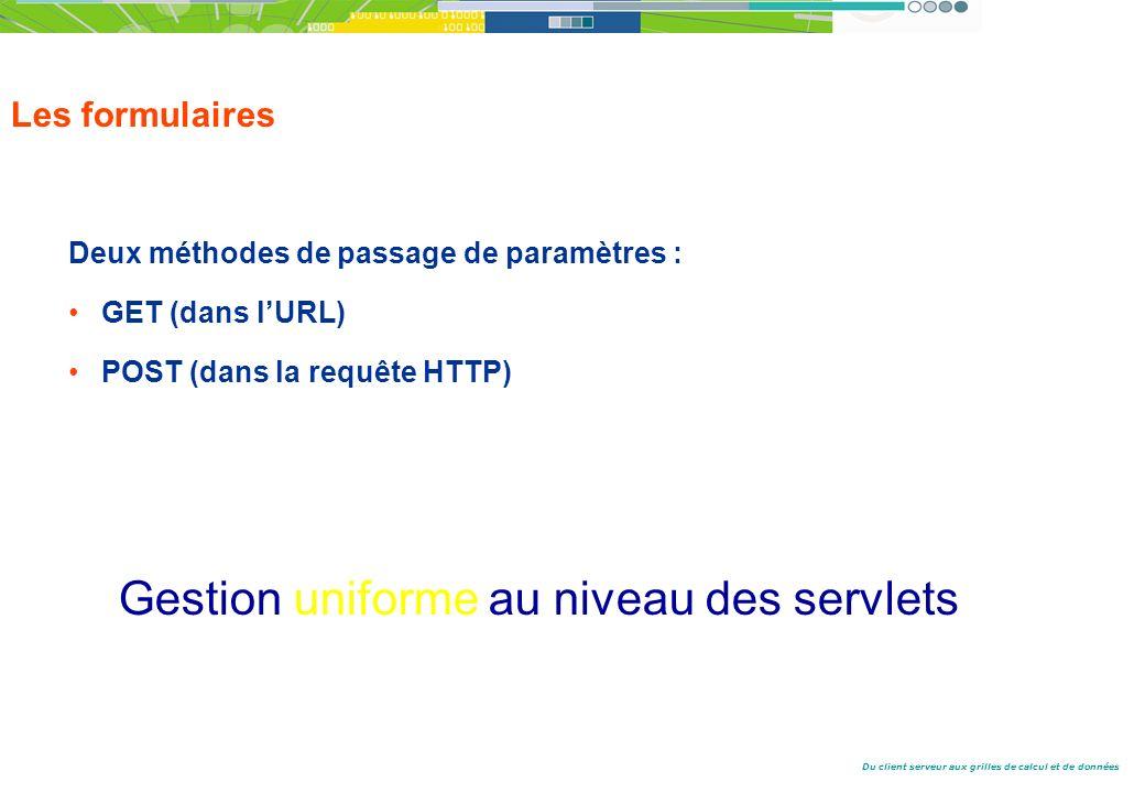 Du client serveur aux grilles de calcul et de données Les formulaires Deux méthodes de passage de paramètres : GET (dans lURL) POST (dans la requête HTTP) Gestion uniforme au niveau des servlets