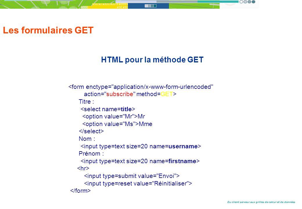 Du client serveur aux grilles de calcul et de données Les formulaires GET HTML pour la méthode GET <form enctype= application/x-www-form-urlencoded action= subscribe method=GET> Titre : Mr Mme Nom : Prénom :