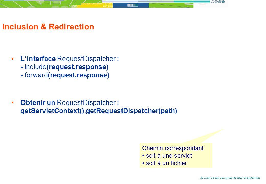 Du client serveur aux grilles de calcul et de données Inclusion & Redirection Linterface RequestDispatcher : - include(request,response) - forward(request,response) Obtenir un RequestDispatcher : getServletContext().getRequestDispatcher(path) Chemin correspondant soit à une servlet soit à un fichier