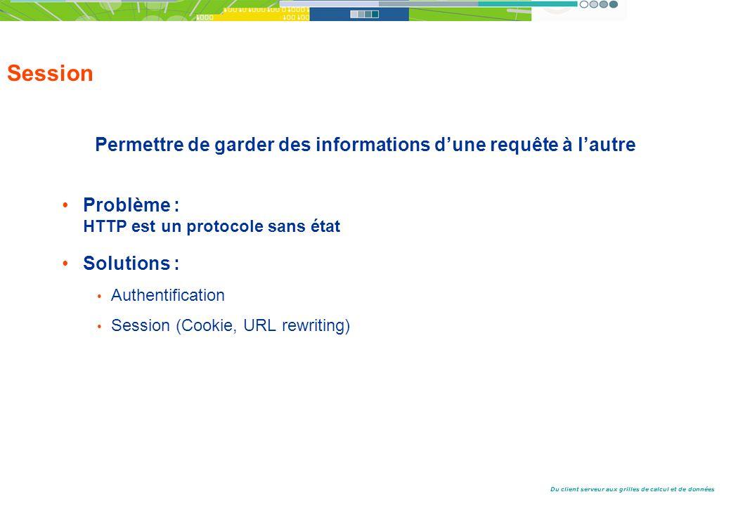 Du client serveur aux grilles de calcul et de données Session Permettre de garder des informations dune requête à lautre Problème : HTTP est un protocole sans état Solutions : Authentification Session (Cookie, URL rewriting)