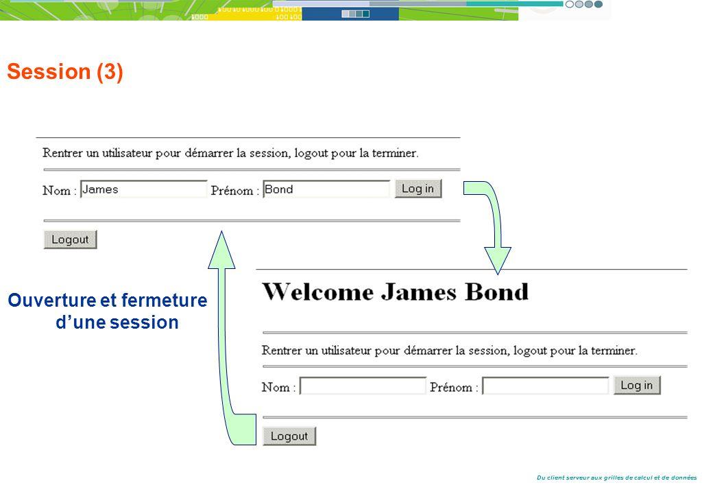 Du client serveur aux grilles de calcul et de données Session (3) Ouverture et fermeture dune session