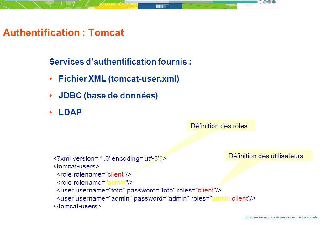 Du client serveur aux grilles de calcul et de données Authentification : Tomcat Services dauthentification fournis : Fichier XML (tomcat-user.xml) JDBC (base de données) LDAP Définition des rôles Définition des utilisateurs