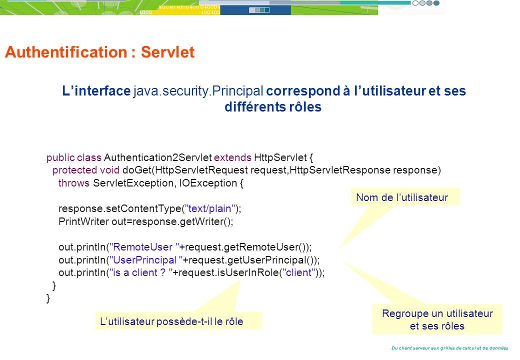 Du client serveur aux grilles de calcul et de données Authentification : Servlet Linterface java.security.Principal correspond à lutilisateur et ses différents rôles public class Authentication2Servlet extends HttpServlet { protected void doGet(HttpServletRequest request,HttpServletResponse response) throws ServletException, IOException { response.setContentType( text/plain ); PrintWriter out=response.getWriter(); out.println( RemoteUser +request.getRemoteUser()); out.println( UserPrincipal +request.getUserPrincipal()); out.println( is a client .