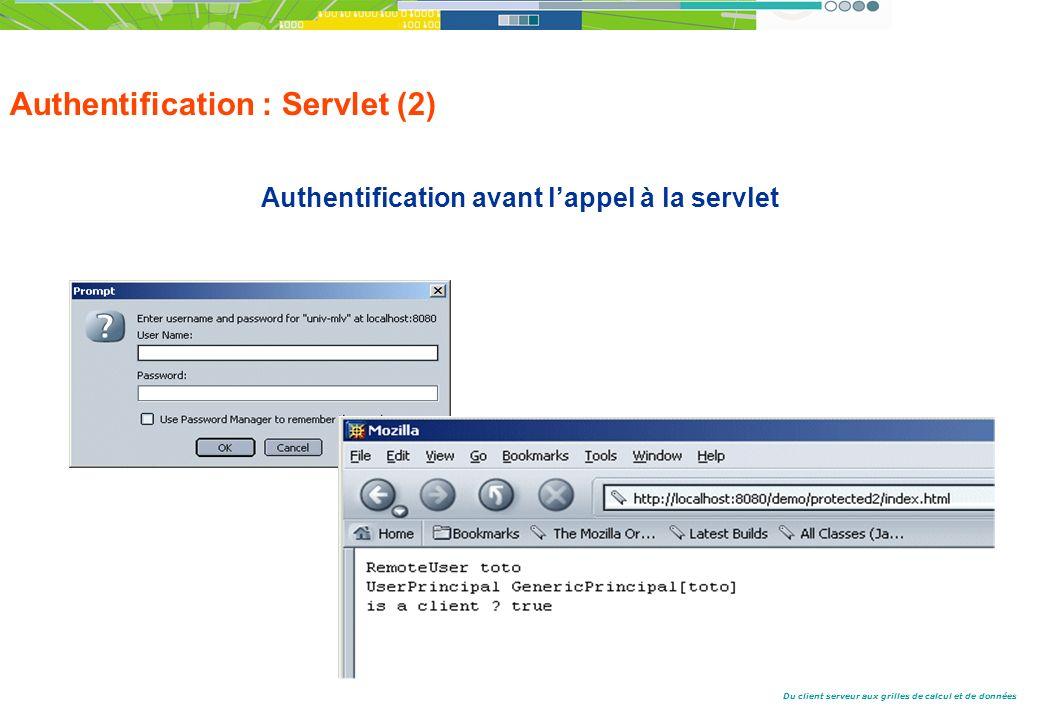 Du client serveur aux grilles de calcul et de données Authentification : Servlet (2) Authentification avant lappel à la servlet