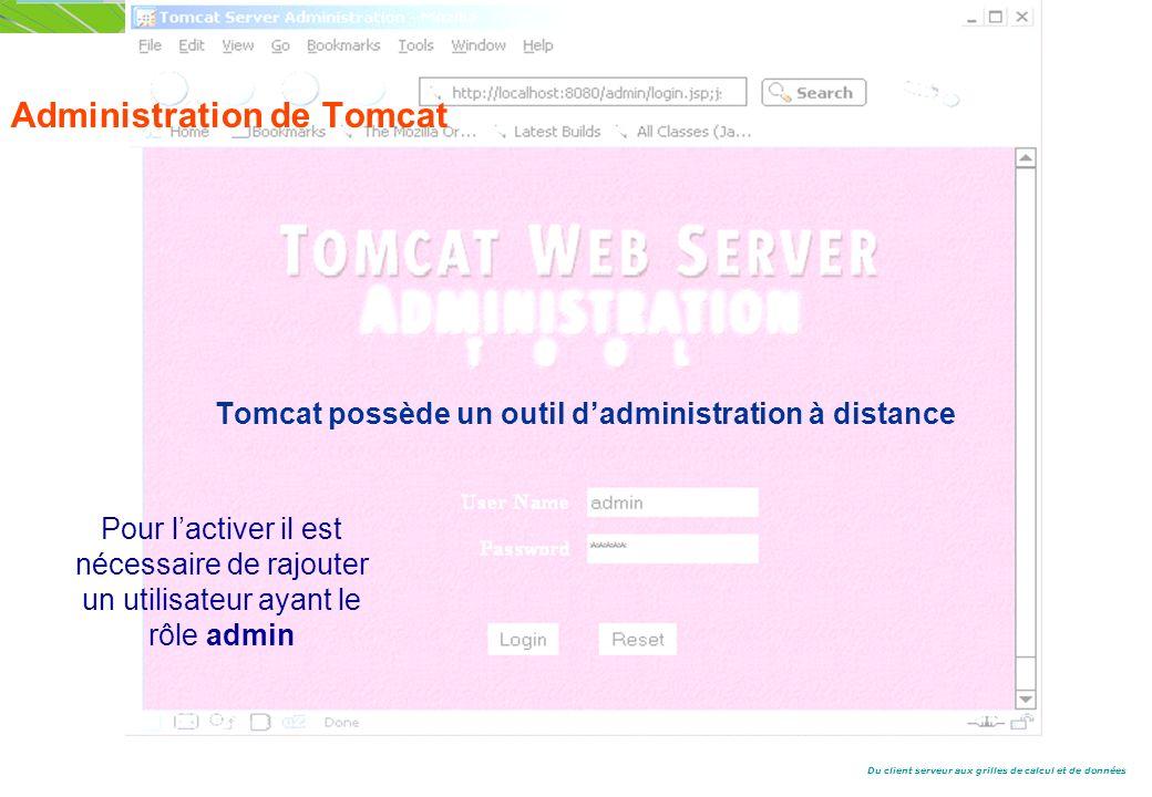 Du client serveur aux grilles de calcul et de données Administration de Tomcat Tomcat possède un outil dadministration à distance Pour lactiver il est nécessaire de rajouter un utilisateur ayant le rôle admin