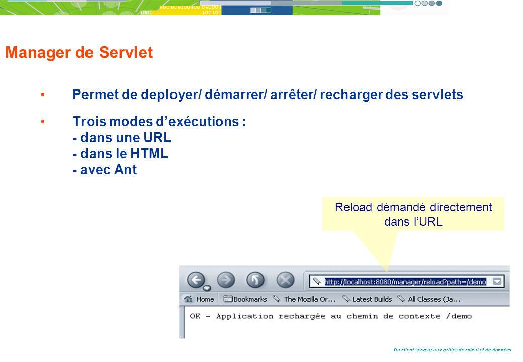 Du client serveur aux grilles de calcul et de données Manager de Servlet Permet de deployer/ démarrer/ arrêter/ recharger des servlets Trois modes dexécutions : - dans une URL - dans le HTML - avec Ant Reload démandé directement dans lURL