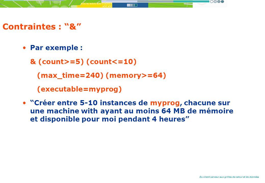 Du client serveur aux grilles de calcul et de données Contraintes : & Par exemple : & (count>=5) (count<=10) (max_time=240) (memory>=64) (executable=myprog) Créer entre 5-10 instances de myprog, chacune sur une machine with ayant au moins 64 MB de mémoire et disponible pour moi pendant 4 heures