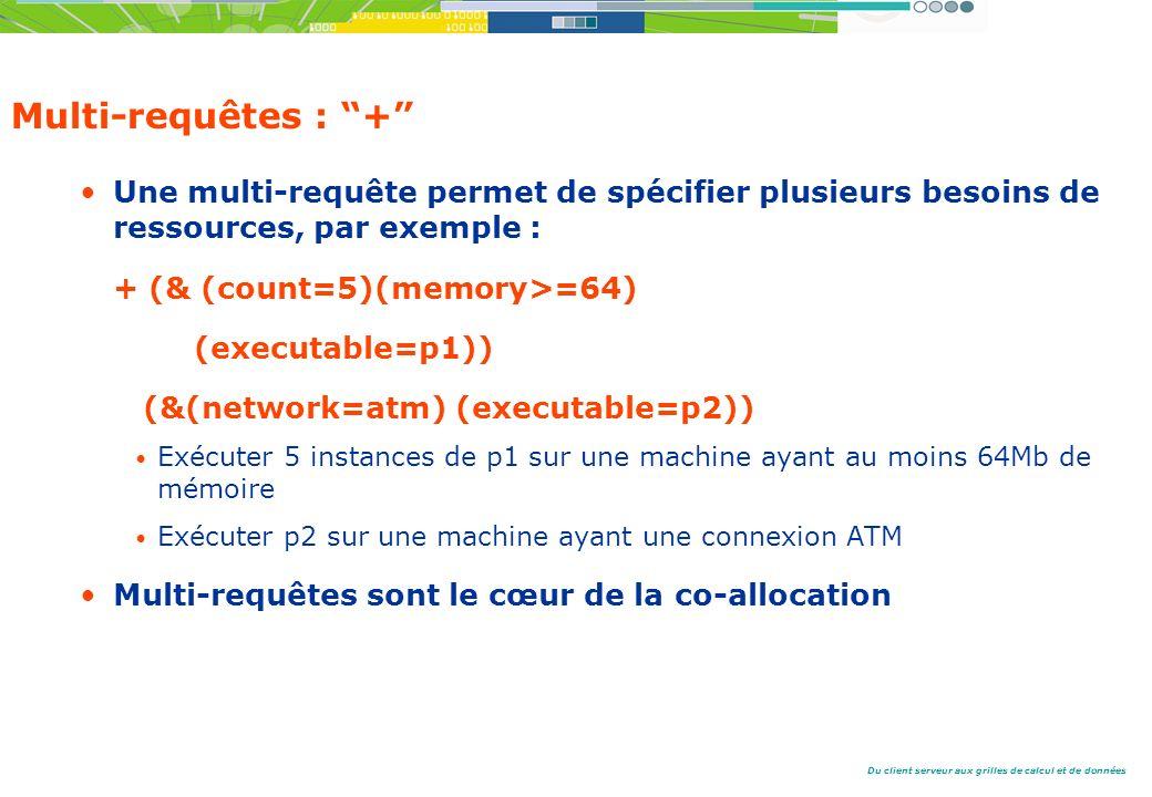 Du client serveur aux grilles de calcul et de données Multi-requêtes : + Une multi-requête permet de spécifier plusieurs besoins de ressources, par exemple : + (& (count=5)(memory>=64) (executable=p1)) (&(network=atm) (executable=p2)) Exécuter 5 instances de p1 sur une machine ayant au moins 64Mb de mémoire Exécuter p2 sur une machine ayant une connexion ATM Multi-requêtes sont le cœur de la co-allocation