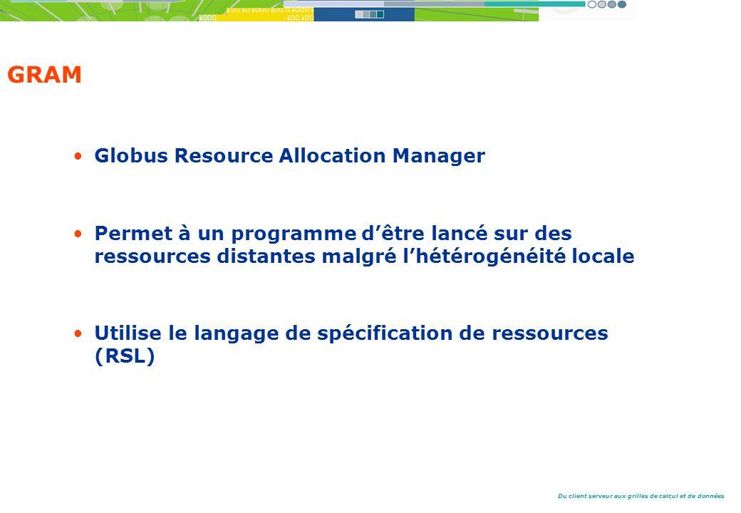 Du client serveur aux grilles de calcul et de données GRAM Globus Resource Allocation Manager Permet à un programme dêtre lancé sur des ressources distantes malgré lhétérogénéité locale Utilise le langage de spécification de ressources (RSL)