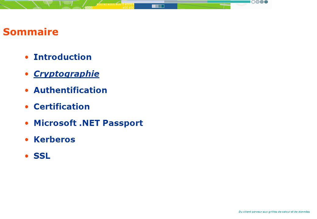 Du client serveur aux grilles de calcul et de données Sommaire Introduction Cryptographie Authentification Certification Microsoft.NET Passport Kerberos SSL