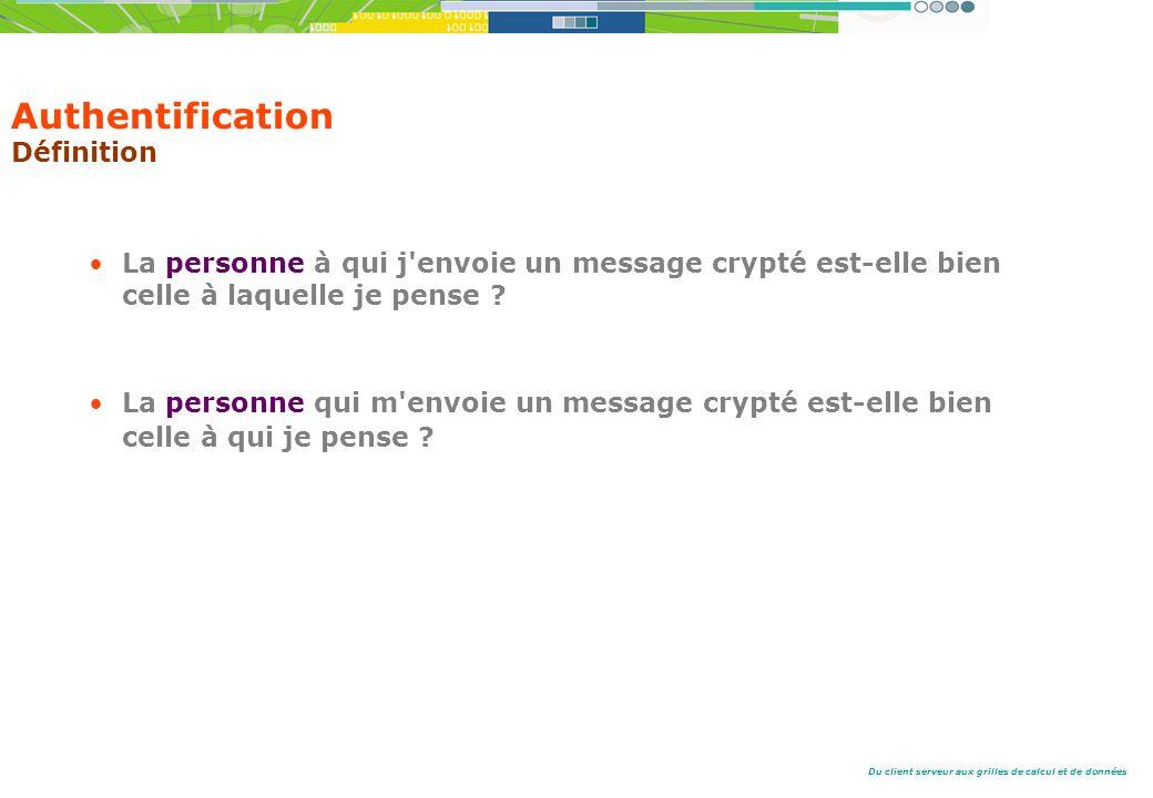 Du client serveur aux grilles de calcul et de données Authentification Définition La personne à qui j envoie un message crypté est-elle bien celle à laquelle je pense .
