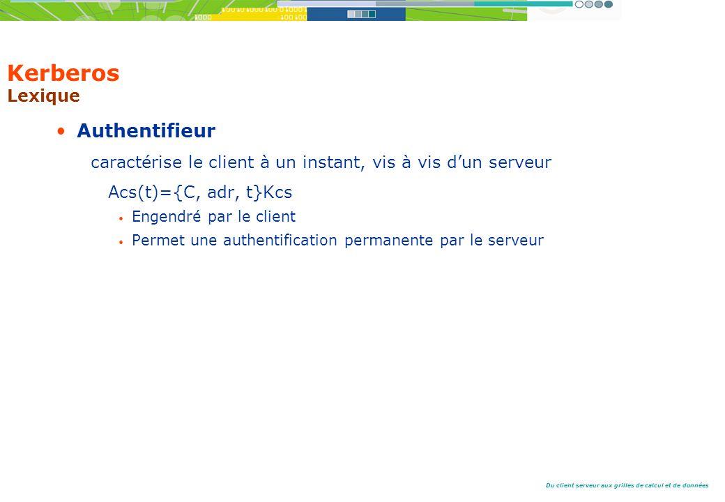 Du client serveur aux grilles de calcul et de données Kerberos Lexique Authentifieur caractérise le client à un instant, vis à vis dun serveur Acs(t)={C, adr, t}Kcs Engendré par le client Permet une authentification permanente par le serveur