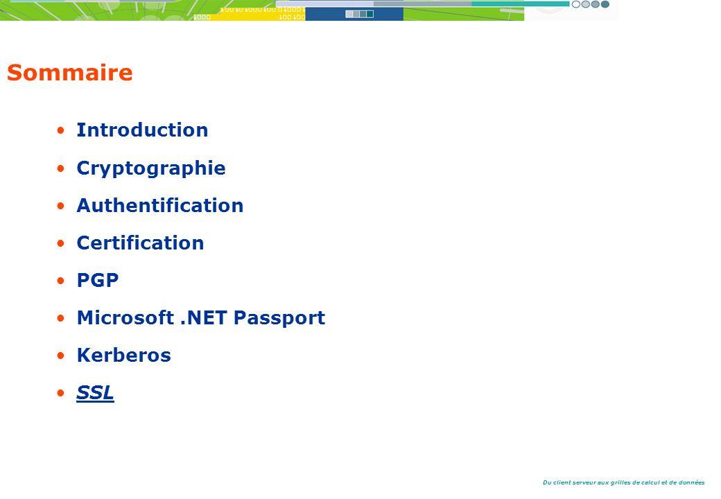 Du client serveur aux grilles de calcul et de données Sommaire Introduction Cryptographie Authentification Certification PGP Microsoft.NET Passport Kerberos SSL