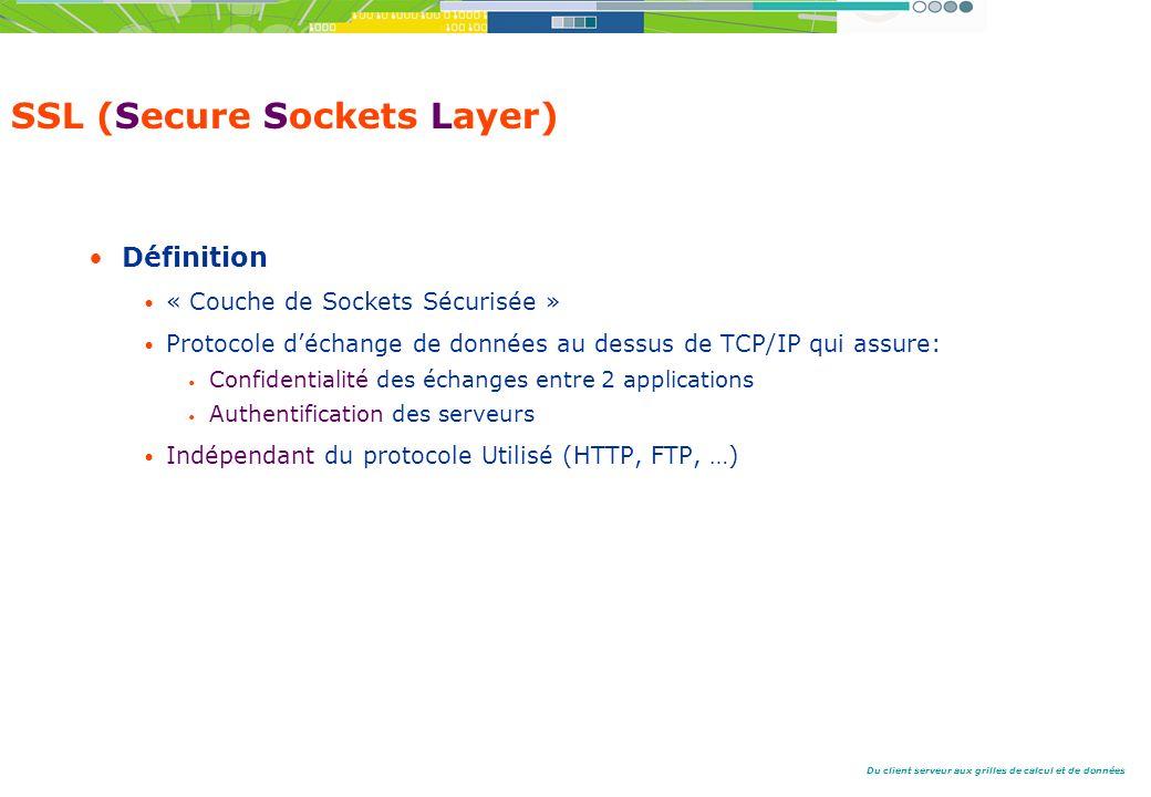 Du client serveur aux grilles de calcul et de données SSL (Secure Sockets Layer) Définition « Couche de Sockets Sécurisée » Protocole déchange de données au dessus de TCP/IP qui assure: Confidentialité des échanges entre 2 applications Authentification des serveurs Indépendant du protocole Utilisé (HTTP, FTP, …)