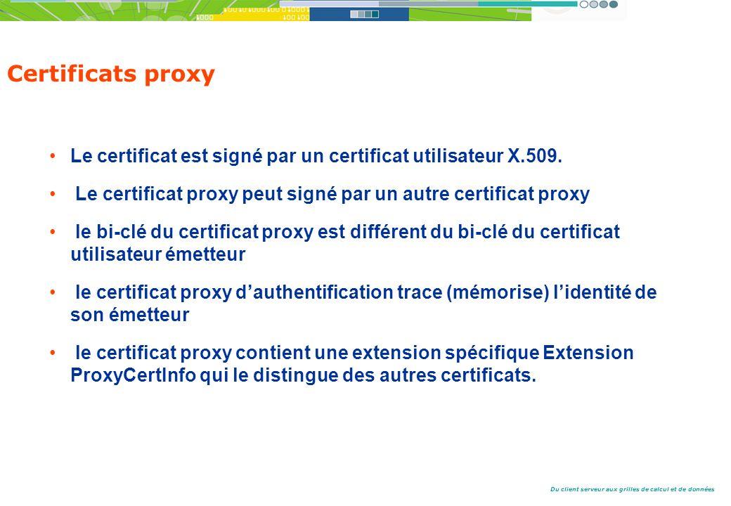 Du client serveur aux grilles de calcul et de données Certificats proxy Le certificat est signé par un certificat utilisateur X.509.