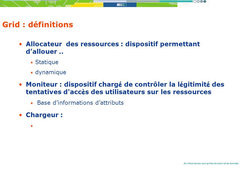 Du client serveur aux grilles de calcul et de données Grid : définitions Allocateur des ressources : dispositif permettant dallouer..