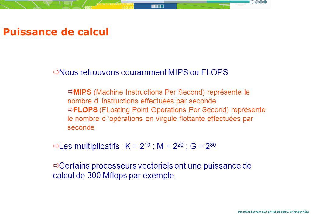 Du client serveur aux grilles de calcul et de données Nous retrouvons couramment MIPS ou FLOPS MIPS (Machine Instructions Per Second) représente le nombre d instructions effectuées par seconde FLOPS (FLoating Point Operations Per Second) représente le nombre d opérations en virgule flottante effectuées par seconde Les multiplicatifs : K = 2 10 ; M = 2 20 ; G = 2 30 Certains processeurs vectoriels ont une puissance de calcul de 300 Mflops par exemple.