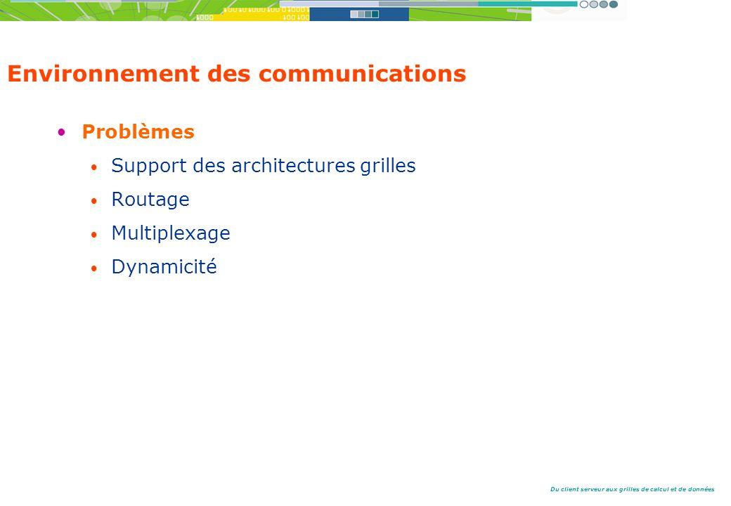 Du client serveur aux grilles de calcul et de données Environnement des communications Problèmes Support des architectures grilles Routage Multiplexage Dynamicité