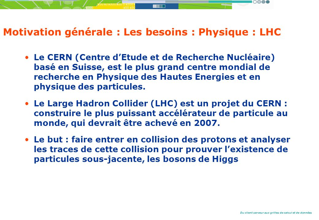 Du client serveur aux grilles de calcul et de données Motivation générale : Les besoins : Physique : LHC Le CERN (Centre dEtude et de Recherche Nucléaire) basé en Suisse, est le plus grand centre mondial de recherche en Physique des Hautes Energies et en physique des particules.