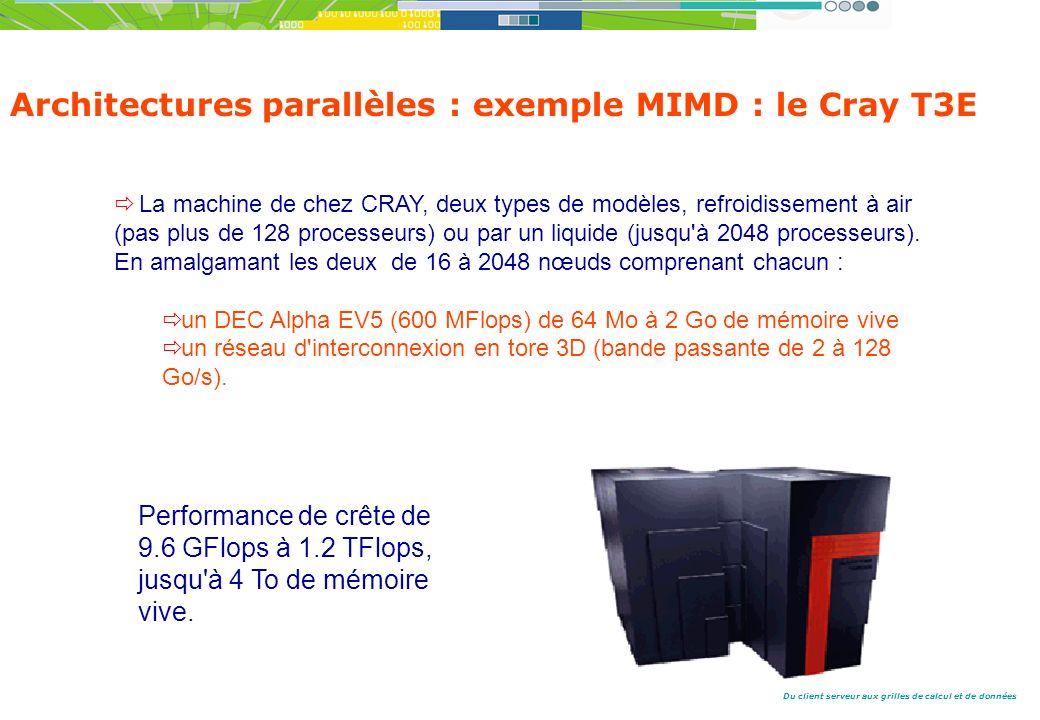 Du client serveur aux grilles de calcul et de données La machine de chez CRAY, deux types de modèles, refroidissement à air (pas plus de 128 processeurs) ou par un liquide (jusqu à 2048 processeurs).