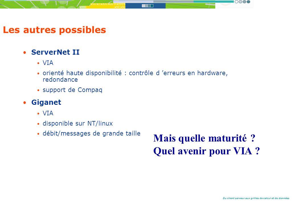 Du client serveur aux grilles de calcul et de données Les autres possibles ServerNet II VIA orienté haute disponibilité : contrôle d erreurs en hardware, redondance support de Compaq Giganet VIA disponible sur NT/linux débit/messages de grande taille Mais quelle maturité .