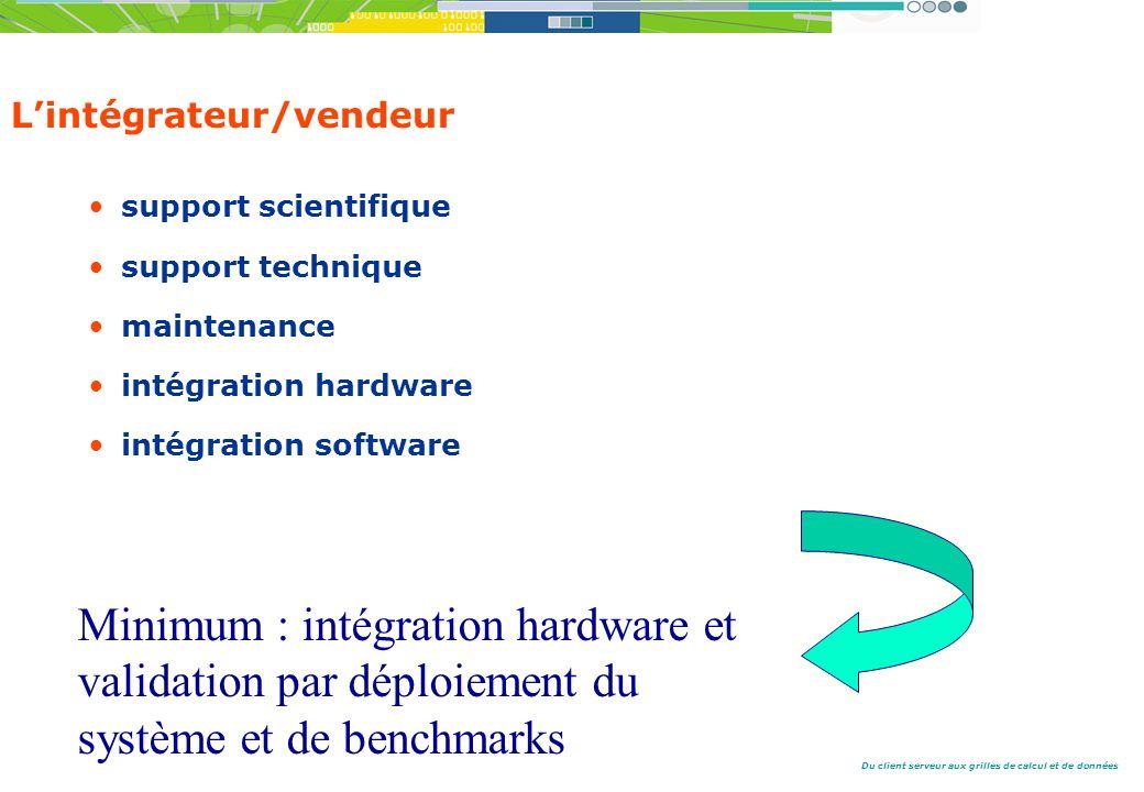 Du client serveur aux grilles de calcul et de données Lintégrateur/vendeur support scientifique support technique maintenance intégration hardware intégration software Minimum : intégration hardware et validation par déploiement du système et de benchmarks