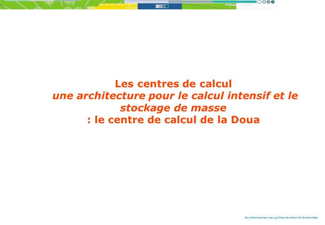 Du client serveur aux grilles de calcul et de données Les centres de calcul une architecture pour le calcul intensif et le stockage de masse : le centre de calcul de la Doua