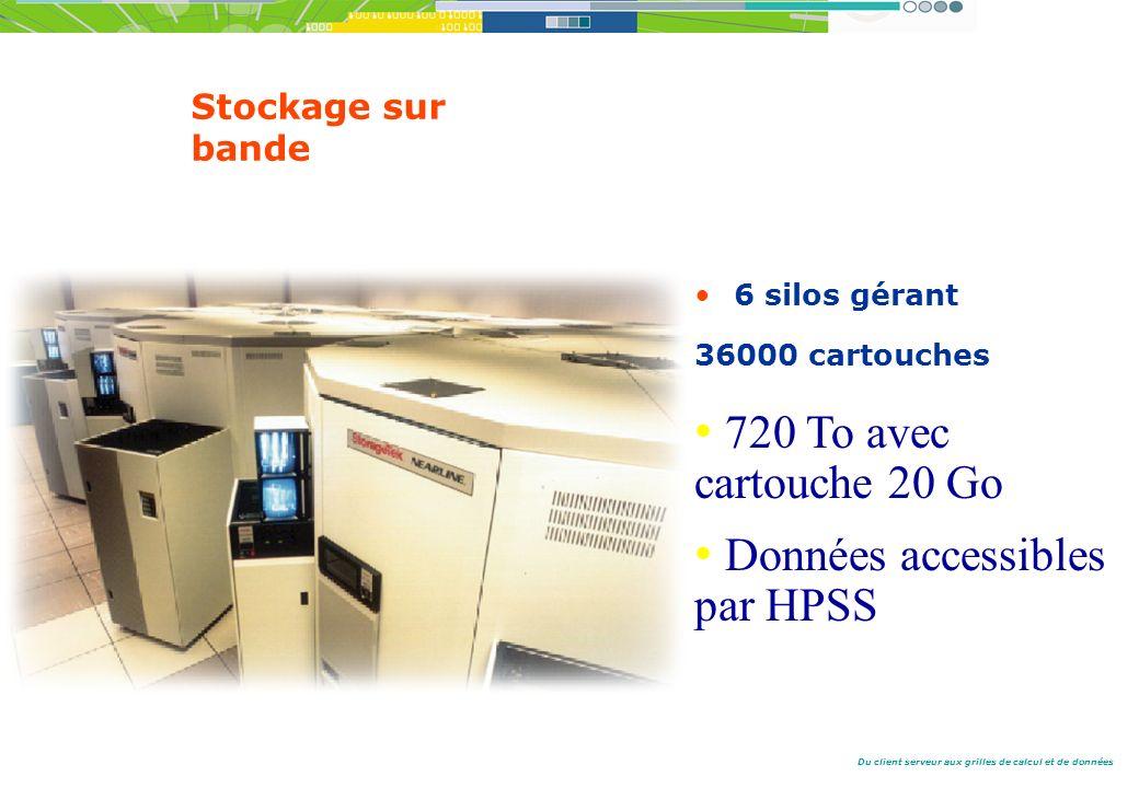Du client serveur aux grilles de calcul et de données Stockage sur bande 6 silos gérant 36000 cartouches 720 To avec cartouche 20 Go Données accessibles par HPSS