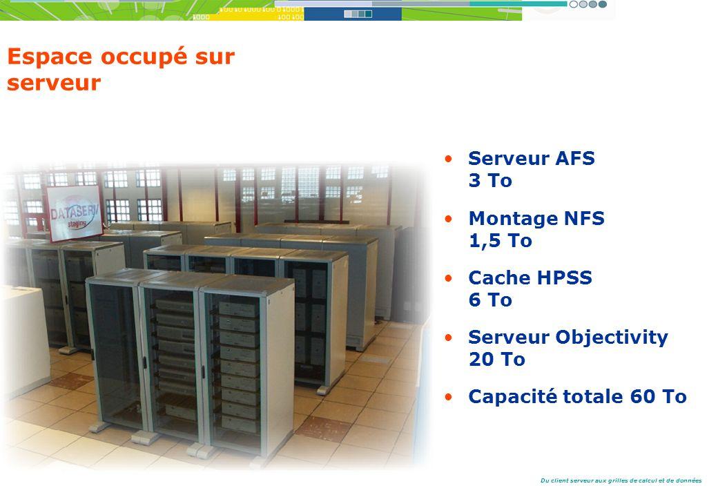 Du client serveur aux grilles de calcul et de données Espace occupé sur serveur Serveur AFS 3 To Montage NFS 1,5 To Cache HPSS 6 To Serveur Objectivity 20 To Capacité totale 60 To