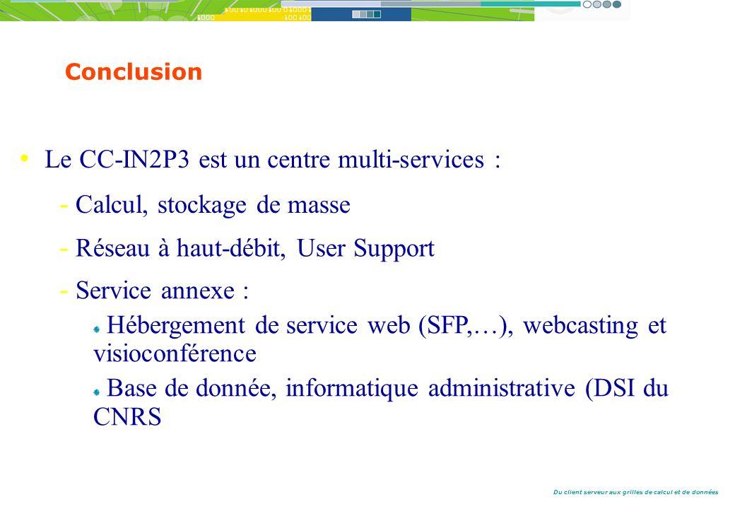 Du client serveur aux grilles de calcul et de données Conclusion Le CC-IN2P3 est un centre multi-services : - Calcul, stockage de masse - Réseau à haut-débit, User Support - Service annexe : Hébergement de service web (SFP,…), webcasting et visioconférence Base de donnée, informatique administrative (DSI du CNRS