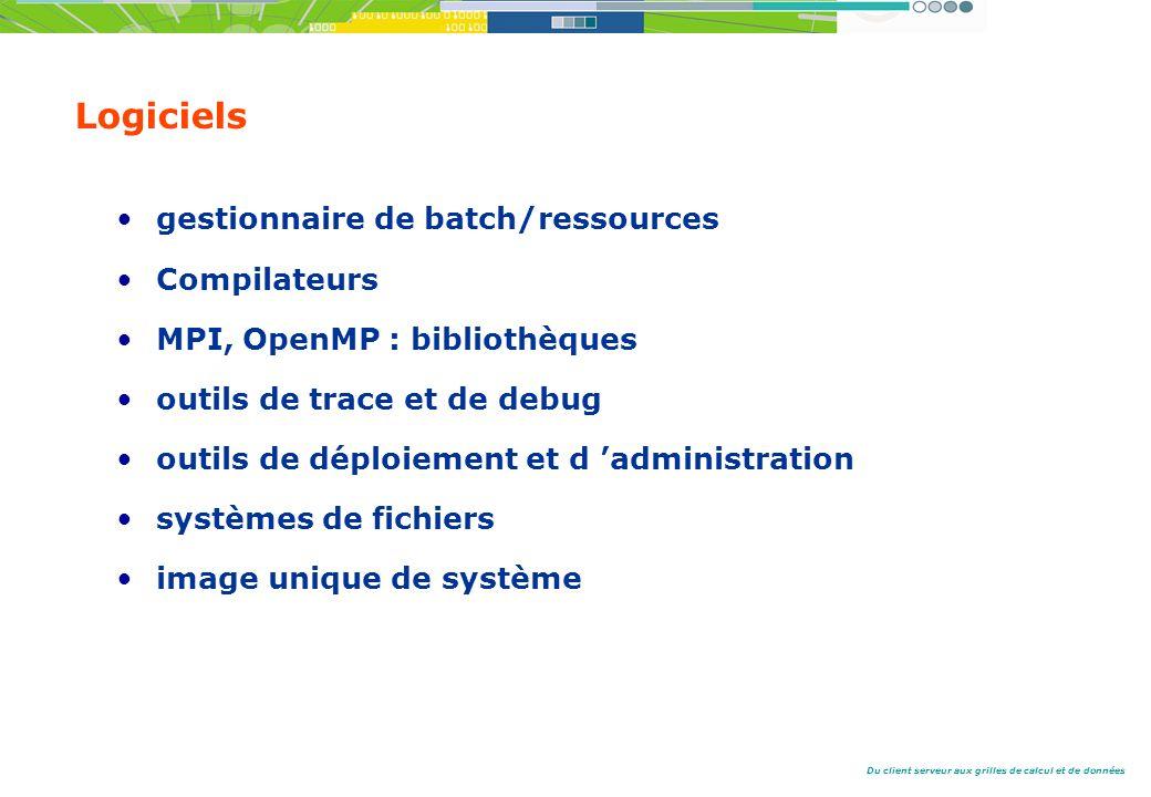Du client serveur aux grilles de calcul et de données Logiciels gestionnaire de batch/ressources Compilateurs MPI, OpenMP : bibliothèques outils de trace et de debug outils de déploiement et d administration systèmes de fichiers image unique de système