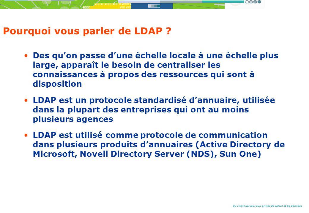 Du client serveur aux grilles de calcul et de données Pourquoi vous parler de LDAP .