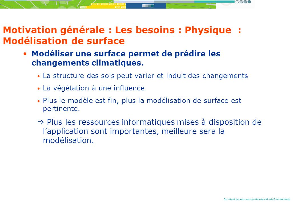 Du client serveur aux grilles de calcul et de données Motivation générale : Les besoins : Physique : Modélisation de surface Modéliser une surface permet de prédire les changements climatiques.