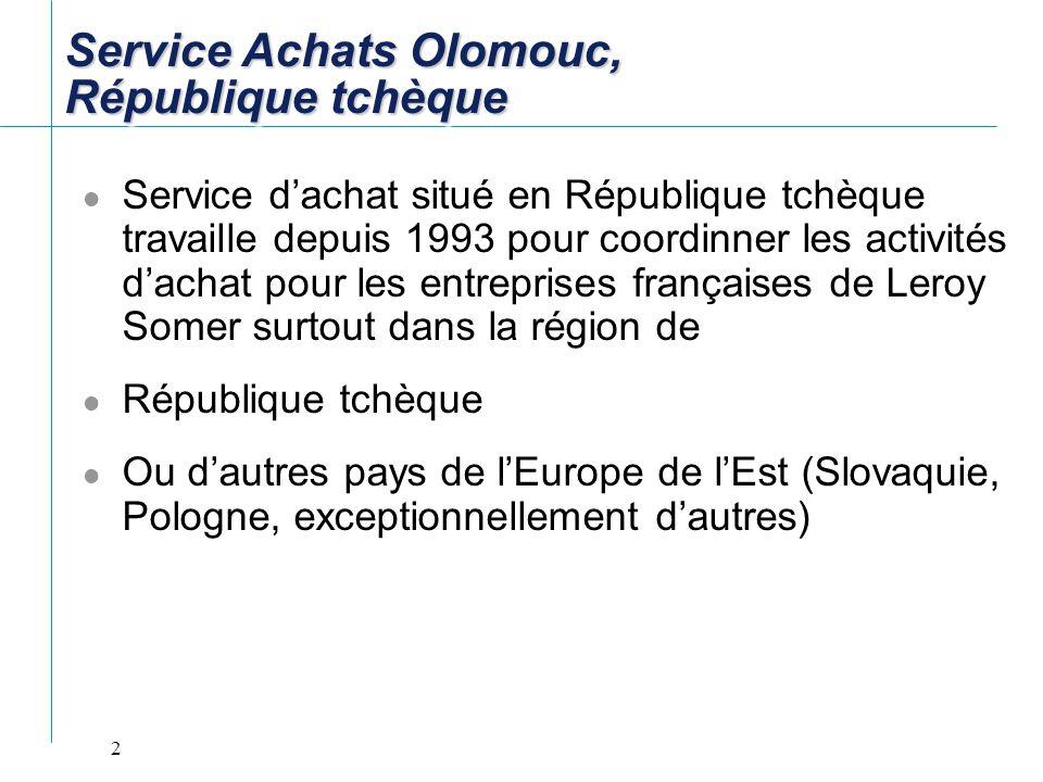 2 Service dachat situé en République tchèque travaille depuis 1993 pour coordinner les activités dachat pour les entreprises françaises de Leroy Somer