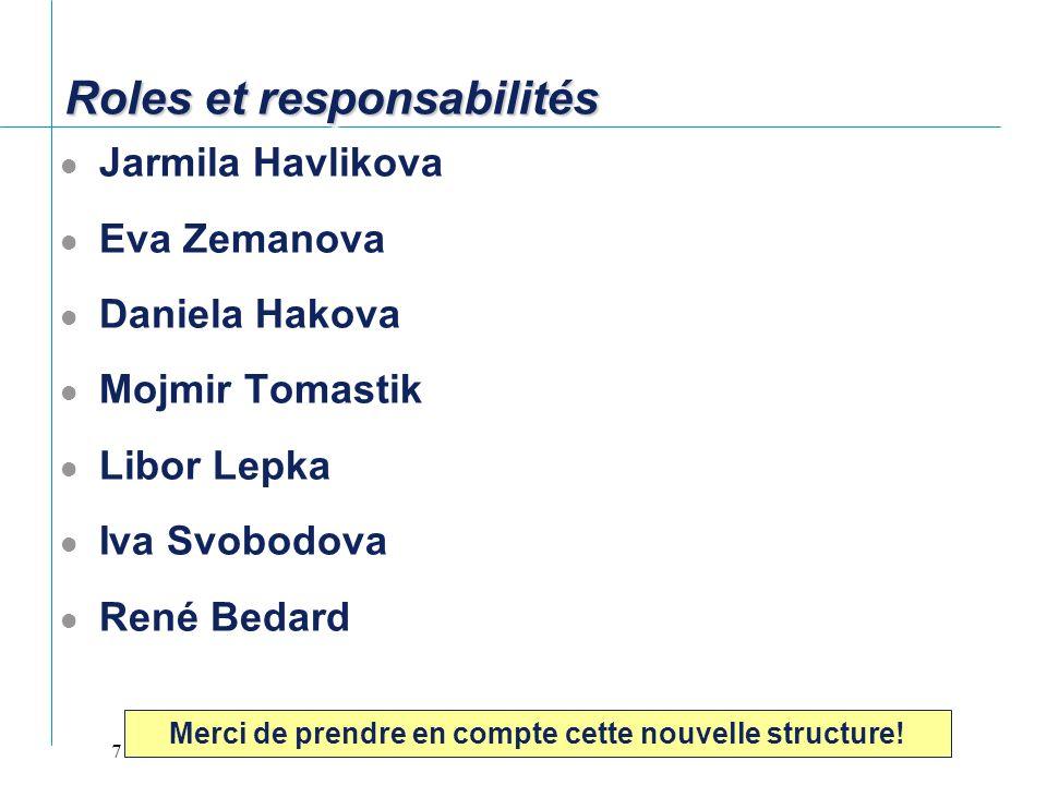 7 Roles et responsabilités Jarmila Havlikova Eva Zemanova Daniela Hakova Mojmir Tomastik Libor Lepka Iva Svobodova René Bedard Merci de prendre en com