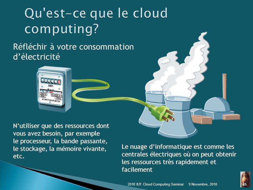 Calcul dans le Nuage 9 Novembre, 2010242010 IUT Cloud Computing Seminar