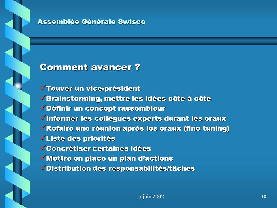 7 juin 20029 Assemblée Générale Swisco Comment exploiter les opportunités ? Séminaires –Swisco continue sur sa lancée –Organisation dun congrès romand