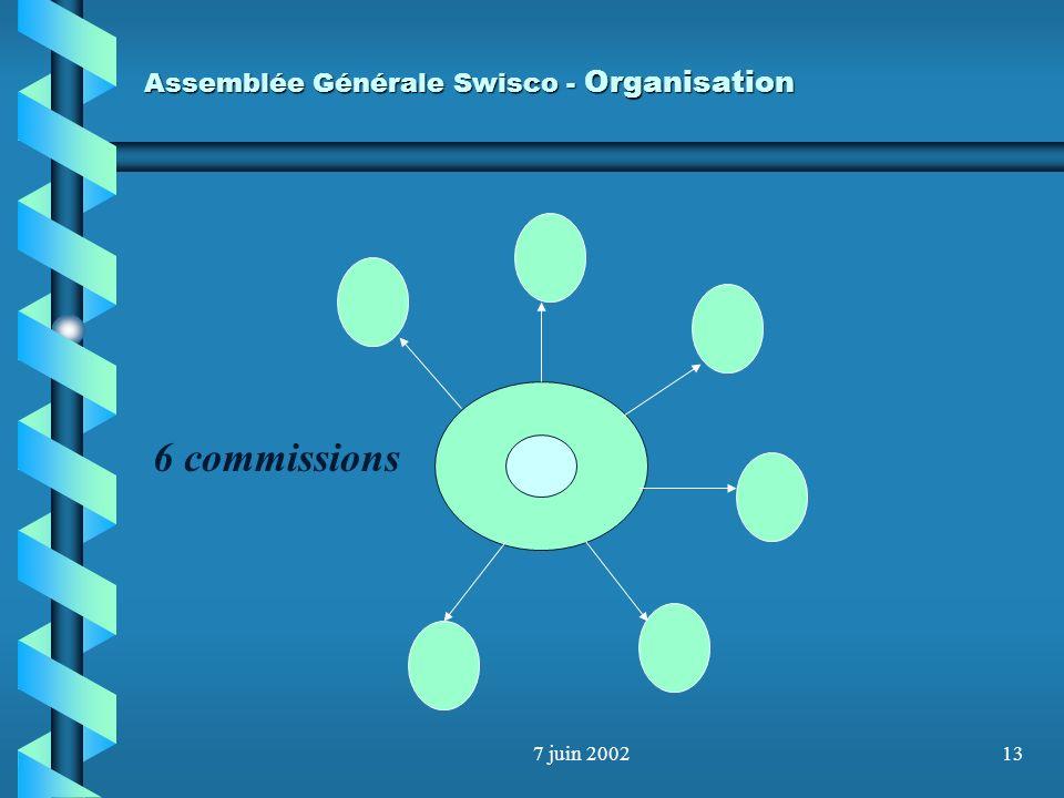 7 juin 200212 Assemblée Générale Swisco Organisation - Comité - Caissier - Secrétaire - Représentants des commissions Budget : Comité : 40000.- Présid