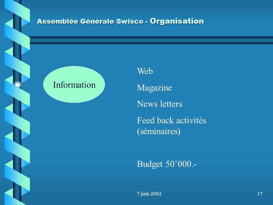 7 juin 200216 Assemblée Générale Swisco - Organisation Information 6 commissions