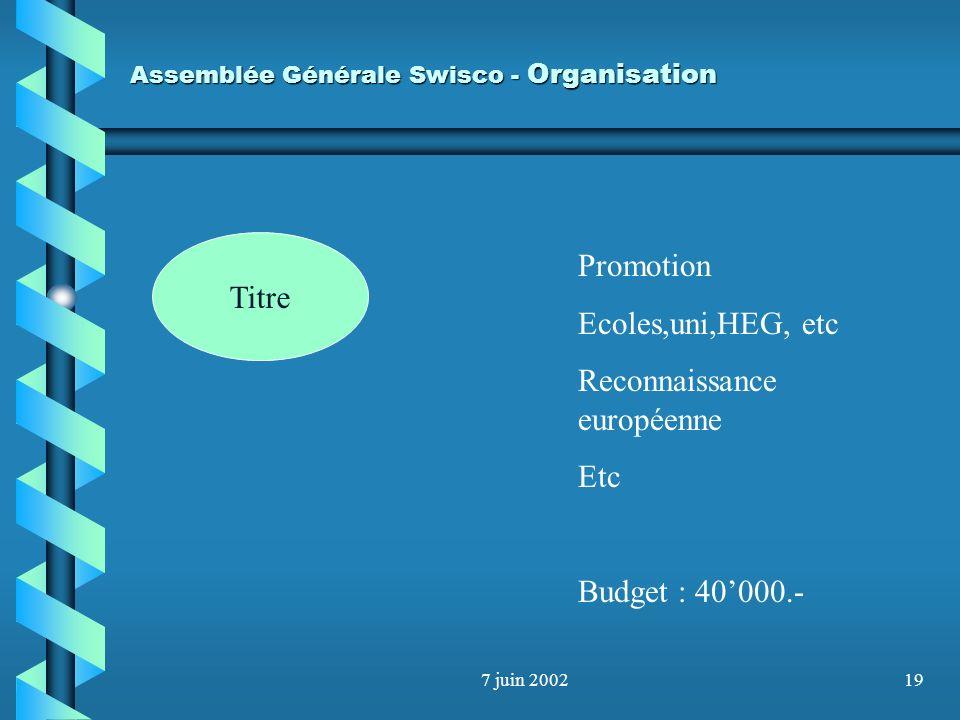 7 juin 200218 Assemblée Générale Swisco - Organisation Titre 6 commissions