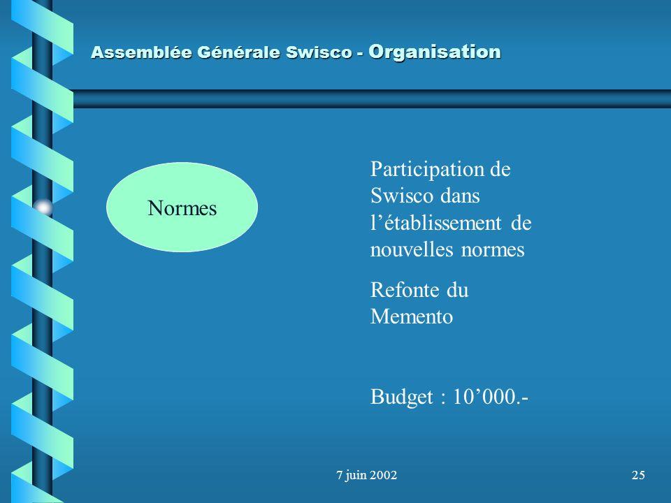 7 juin 200224 Assemblée Générale Swisco - Organisation Normes 6 commissions