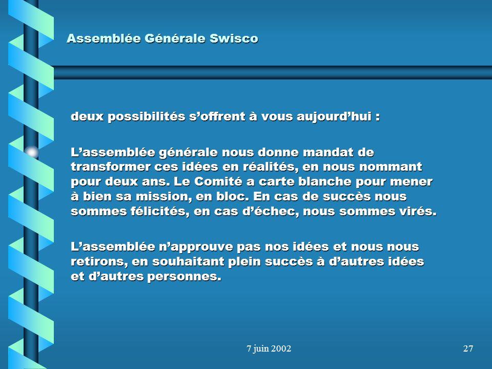 7 juin 200226 Assemblée Générale Swisco - Organisation En Bref ! Une association plus proche de ses membres Des cotisations maintenues pour le moment