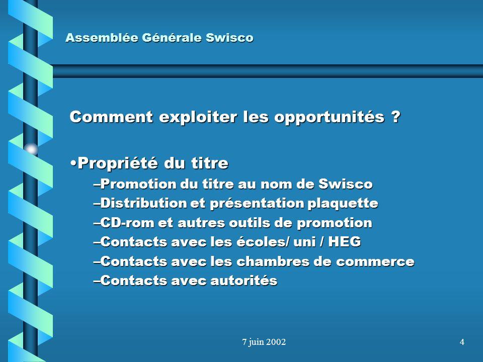 7 juin 20023 Assemblée Générale Swisco Les opportunités Propriété du titrePropriété du titre Les membres actifs sont à la foisLes membres actifs sont