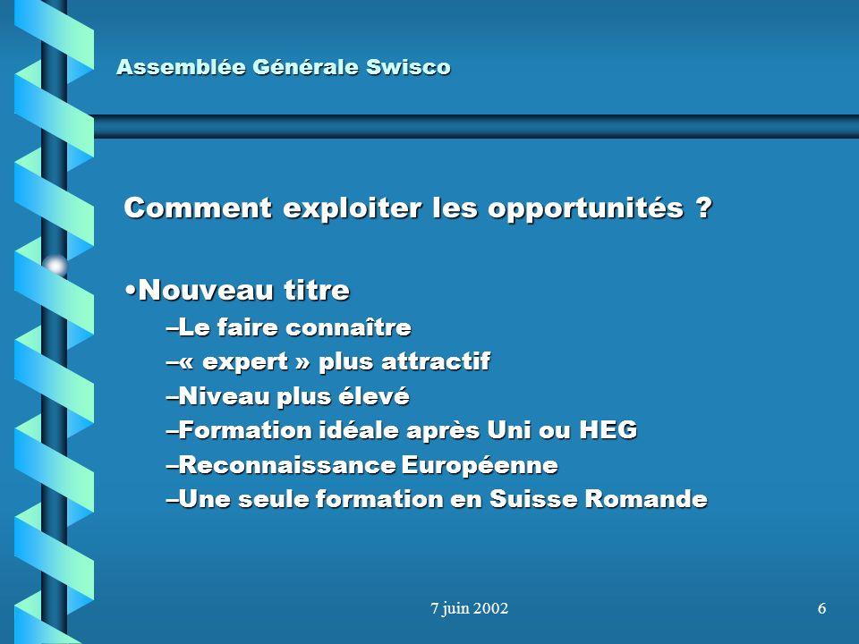 7 juin 20025 Assemblée Générale Swisco Comment exploiter les opportunités ? Les membres actifsLes membres actifs –Ne pas les décourager (comité tourna