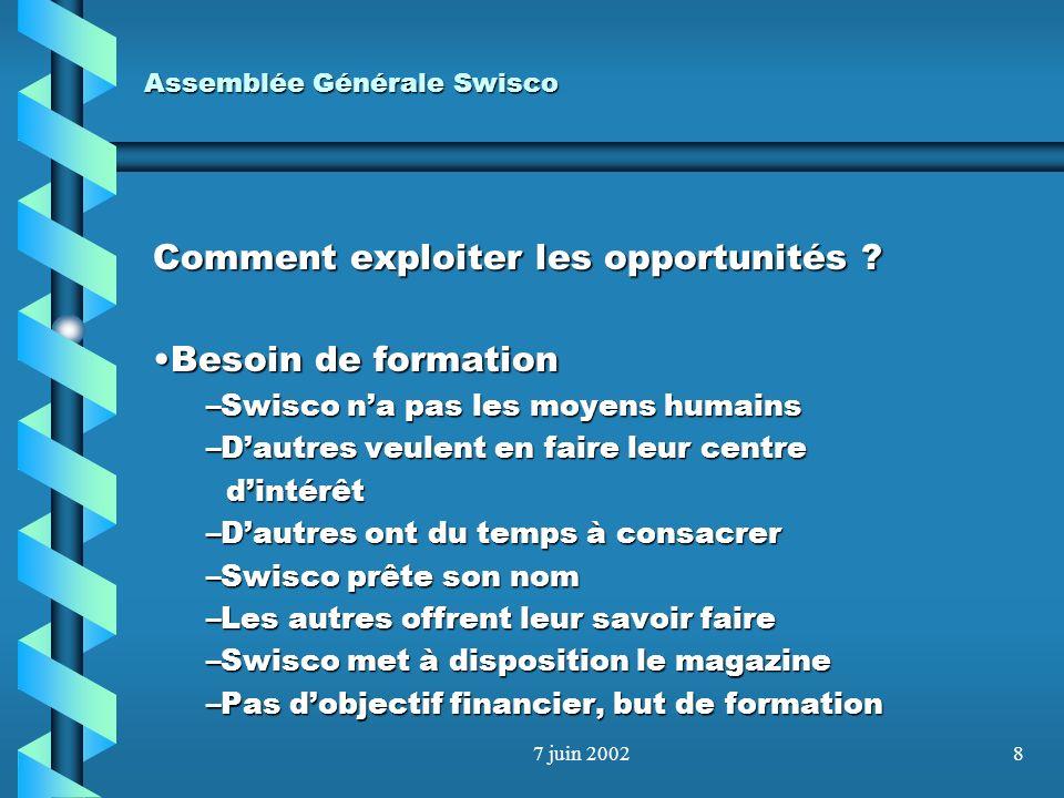 7 juin 20027 Assemblée Générale Swisco Comment exploiter les opportunités ? Transition - formationTransition - formation –Anciens « comptables » à rec