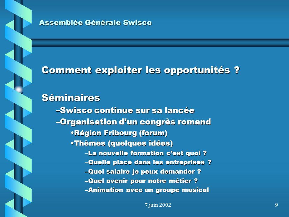 7 juin 20028 Assemblée Générale Swisco Comment exploiter les opportunités ? Besoin de formationBesoin de formation –Swisco na pas les moyens humains –
