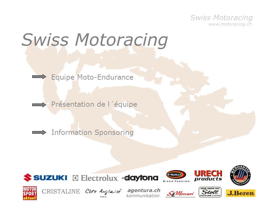 Klicken Sie, um die Formate des Vorlagentextes zu bearbeiten –Zweite Ebene Dritte Ebene –Vierte Ebene »Fünfte Ebene Swiss Motoracing Equipe Moto-Endurance Présentation de l´équipe Information Sponsoring