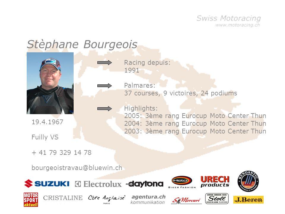 Klicken Sie, um die Formate des Vorlagentextes zu bearbeiten –Zweite Ebene Dritte Ebene –Vierte Ebene »Fünfte Ebene Franz Scherrer 30.3.1962 Kilchberg ZH + 41 79 631 71 71 motoracing@bluewin.ch Racing depuis: 1997 Palmares: 166 courses, 17 victoires, 47 podiums Highlights: 2005: 2eme rang Open Dunlop Sportmaxcup 2005: 2eme rang Eurocup Moto Center Thun 2004: 1ère rang Eurocup Moto Center Thun But: 2006: Top Ten Championnat Suisse Superstock 1000