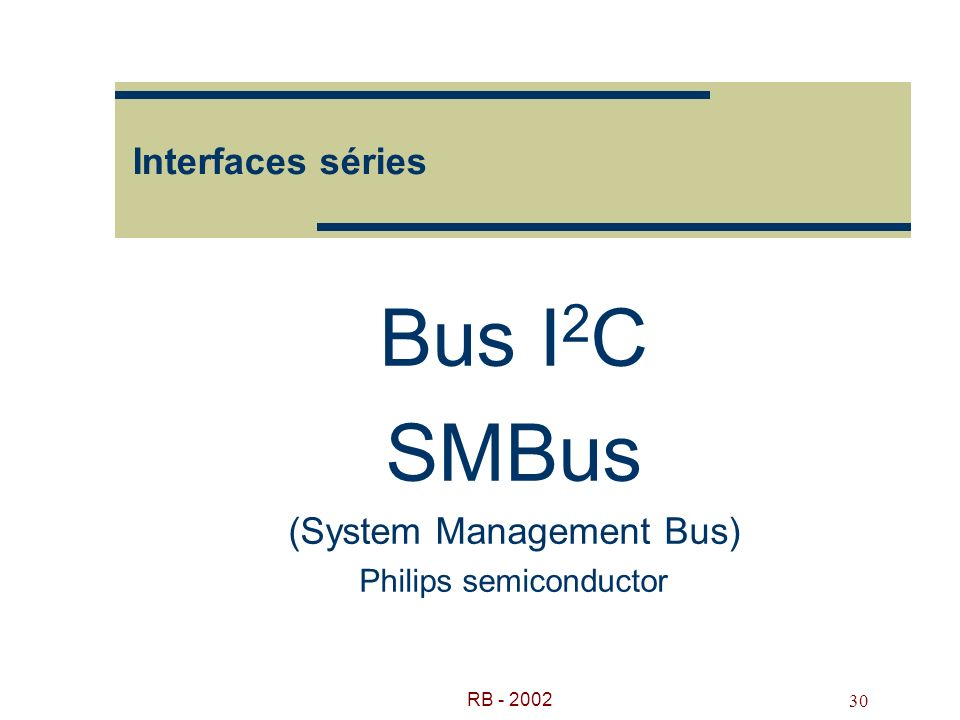 RB - 2002 30 Interfaces séries Bus I 2 C SMBus (System Management Bus) Philips semiconductor